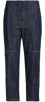 Cropped Faded High-Rise Tapered Jeans