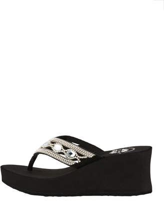 Premium Collection By Yellow Box Nadie Embellished Platform Wedge Sandals