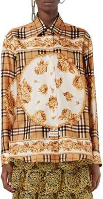 Burberry Archive Scarf-Print Silk Shirt