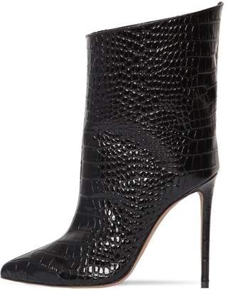 Alexandre Vauthier 110mm Croc Embossed Leather Ankle Boots