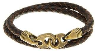 LINK UP Brown Leather Double Wrap Bracelet $95 thestylecure.com