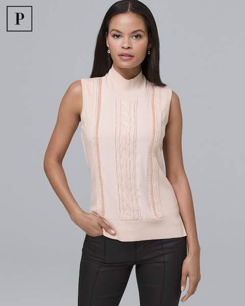 Whbm Petite Sleeveless Cable Knit & Beaded-Trim Sweater