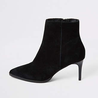 River Island Black suede pointed toe heeled ankle boots