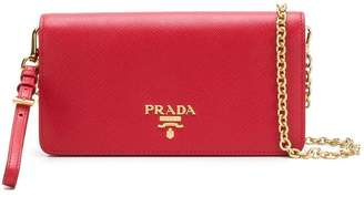 Prada mini Saffiano chain wallet