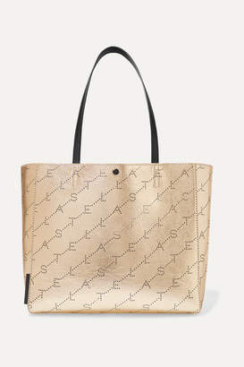Stella McCartney Net Sustain Perforated Metallic Faux Leather Tote - Gold