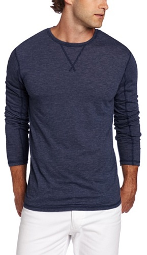 7 For All Mankind Men's Striped Long Sleeve Crew Neck Shirt