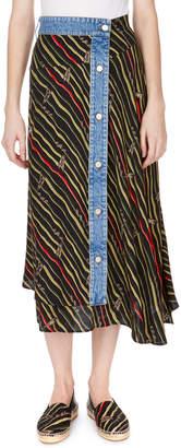 Loewe Striped Asymmetric Wrap Midi Skirt with Denim