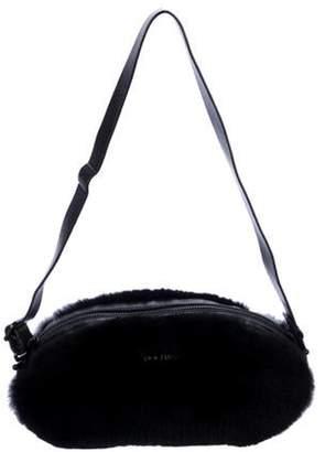 Rochas Rabbit Fur-Trimmed Shoulder Bag Black Rabbit Fur-Trimmed Shoulder Bag