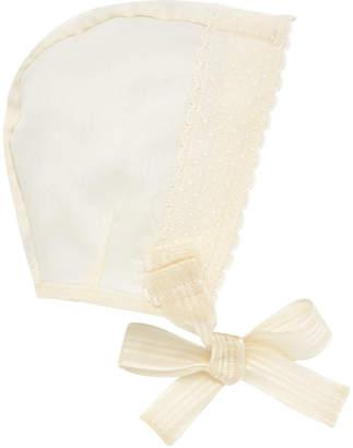 Carrera Pili Silk Organdy Scalloped-Trim Baby Bonnet
