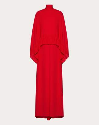 Valentino Georgette Evening Dress With Ruffles Women Red 46
