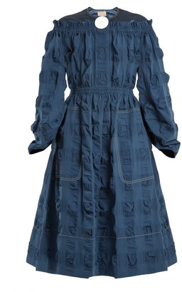 Roksanda Tora Satin Yoke Cotton Blend Seersucker Dress - Womens - Blue