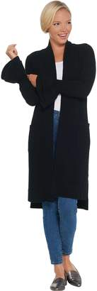 Isaac Mizrahi Live! 2-Ply Cashmere Ruffle Cuff Duster Cardigan