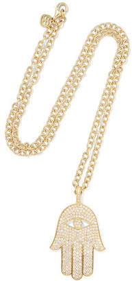 Sydney Evan Extra Large Hamsa 14-karat Gold Diamond Necklace