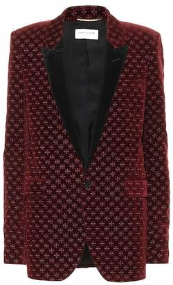 Saint Laurent Star-embroidered velvet blazer