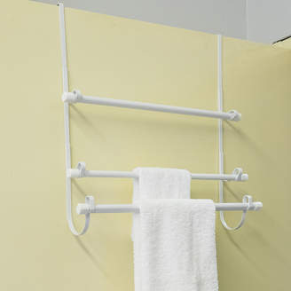 SWEET HOME COLLECTION Epoxy Steel Over The Door Bathroom White Towel Hanger Organizer 3 Bar Rack