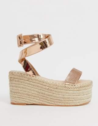 3ffbea525 Simmi Shoes Simmi London Melia rose gold diamante embellished flatform  espadrilles