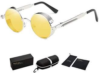 Dollger Round Vintage Steampunk Sunglasses for Men Metal Frame Tinted Lens