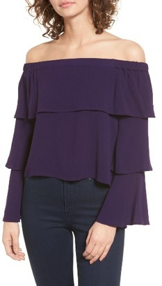Women's Chloe & Katie Tiered Ruffle Off The Shoulder Top $39 thestylecure.com