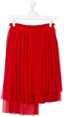 MSGM Kids TEEN asymmetric pleated skirt