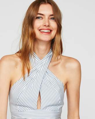 Express Striped Cross Front Halter Neck Crop Top