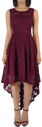 H HIAMIGOS Women's Vintage Floral Lace Cocktail Formal Party High Low Dress M