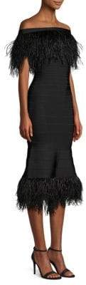 Herve Leger Off-The-Shoulder Feather Bandage Dress