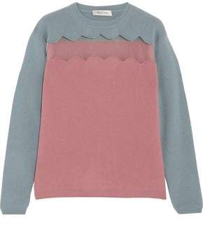 Valentino Tulle-Paneled Wool And Cashmere-Blend Sweater