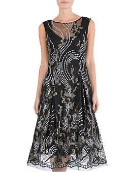 Anthea Crawford Black & Gold A-Line Dress