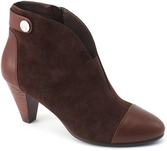 David Tate Leather Stacked Heel Booties - Ultra