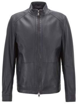 BOSS Hugo Regular-fit blouson jacket in nappa lambskin 40R Open Blue