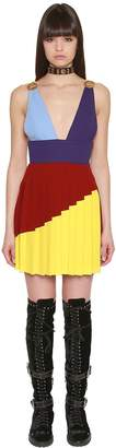 Fausto Puglisi Pleated Wool Crepe Mini Dress