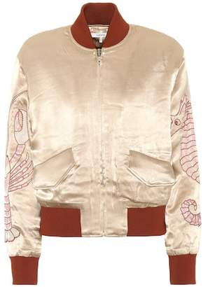 Ganni Embroidered satin bomber jacket