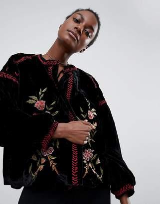 Raga Rosie Posie Velour Embroidered Jacket