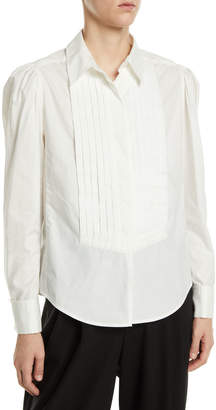 Marc Jacobs Long-Sleeve Button-Front Cotton Shirt w/ Topstitching