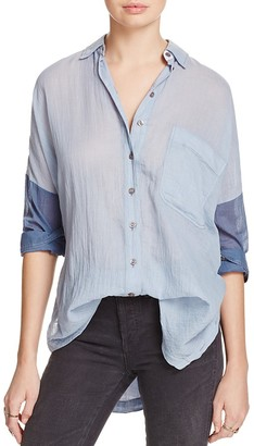 Free People Rainbow Rays Button-Down Shirt $108 thestylecure.com