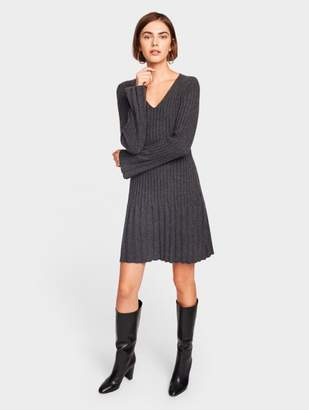White + Warren Cashmere Multi Rib V Neck Dress