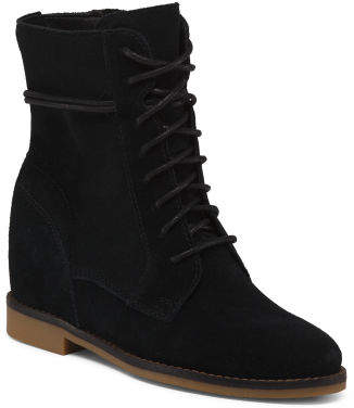 Hidden Wedge Lace Up Suede Boots