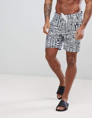 Armani Exchange All Over Logo Swim Shorts In Navy