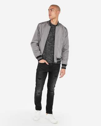 Express Gray Reversible Nyc Exp Graphic Bomber Jacket
