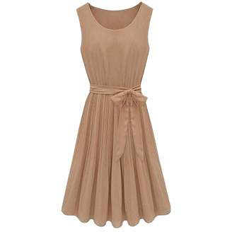 WINSON Women Girls Chiffon Dress Belt Sleeveless Ruffle Short Mini Dress Round Neck