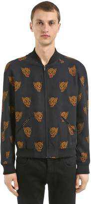 The Kooples Leopards Zip-Up Viscose Bomber Jacket