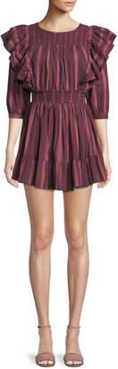 LoveShackFancy Cassi Striped Ruffle 3/4-Sleeve Mini Dress