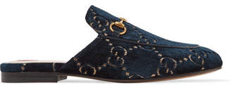 Gucci Princetown Horsebit-detailed Leather-trimmed Embroidered Velvet Slippers - Midnight blue