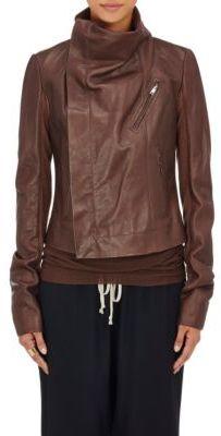 Rick Owens Women's Classic Biker Jacket-BURGUNDY $2,100 thestylecure.com