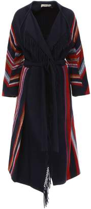 Tory Burch Blanket Coat With Fringes