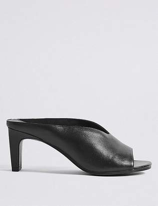 Marks and Spencer Leather Straight Back Mules Sandals