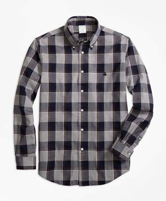 Brooks Brothers Milano Fit Yarn-Dyed Oxford Grey Plaid Sport Shirt