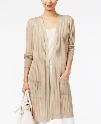 Joseph A Ribbed Metallic Duster Cardigan $70 thestylecure.com
