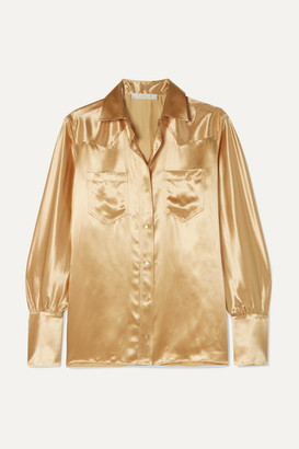 Chloé Metallic Satin Blouse - Bronze