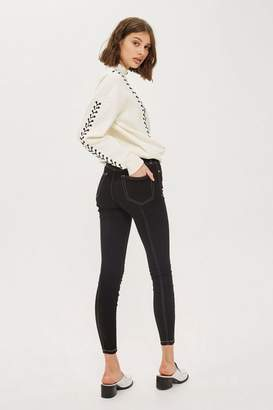 Topshop Moto black contrast jamie jeans